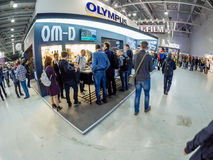 Booth of Olympus company at PhotoForum 2017 trade show Stock Image