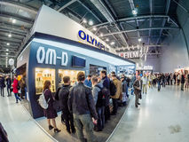 Booth of Olympus company at PhotoForum 2017 trade show Stock Photography