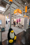 Booth of Open Source Park at CeBIT. HANNOVER, GERMANY - MARCH 14, 2016: Booth of Open Source Park at CeBIT information technology trade show in Hannover, Germany Royalty Free Stock Photo