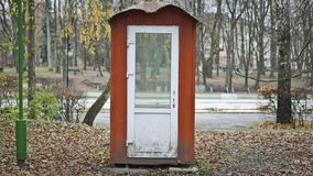 Booth in the park. Tool house in the aun park stock images