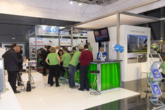 Booth with personnel at AquaTherm 2012 in Prague Royalty Free Stock Image