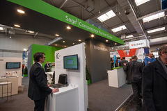 Booth of Sage company at CeBIT information technology trade show Stock Image