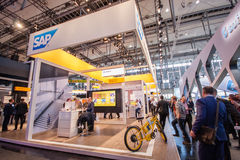 Booth of SAP company at CeBIT information technology trade show Stock Images