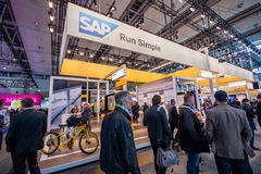 Booth of SAP company at CeBIT information technology trade show Royalty Free Stock Photo