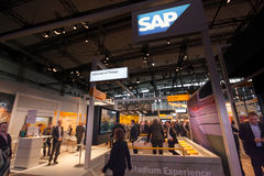 Booth of SAP company at CeBIT information technology trade show Stock Photo