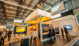 Booth of SAP company at CeBIT information technology trade show Royalty Free Stock Photography