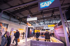 Booth of SAP company at CeBIT information technology trade show. HANNOVER, GERMANY - MARCH 14, 2016: Booth of SAP company at CeBIT information technology trade royalty free stock photography