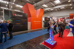 Booth of Scheer company at CeBIT information technology trade show Royalty Free Stock Images
