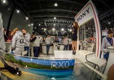 Booth of Sony company at PhotoForum 2018 trade show. MOSCOW, RUSSIA - APRIL 13, 2018: Booth of Sony company at PhotoForum 2018 trade show and exhibition in Stock Image