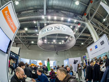 Booth of Sony company at PhotoForum 2017 trade show. MOSCOW, RUSSIA - APRIL 21, 2017: Booth of Sony company at PhotoForum 2017 trade show and exhibition in royalty free stock photography