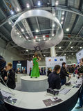 Booth of Sony company at PhotoForum 2017 trade show. MOSCOW, RUSSIA - APRIL 21, 2017: Booth of Sony company at PhotoForum 2017 trade show and exhibition in stock photography