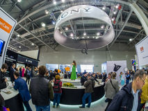 Booth of Sony company at PhotoForum 2017 trade show. MOSCOW, RUSSIA - APRIL 21, 2017: Booth of Sony company at PhotoForum 2017 trade show and exhibition in stock image