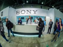 Booth of Sony company support service at PhotoForum 2018. MOSCOW, RUSSIA - APRIL 13, 2018: Booth of Sony company support service at PhotoForum 2018 trade show Royalty Free Stock Photography