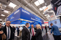 Booth of Sophos company at CeBIT information technology trade show. HANNOVER, GERMANY - MARCH 14, 2016: Booth of Sophos company at CeBIT information technology stock photography