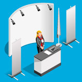 Booth Stand 3D Exhibition Isometric People Vector Illustration Royalty Free Stock Image