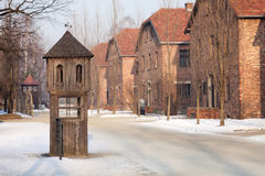 Booth where the SS man responsible for conducting the roll-call and collecting reports in Auschwitz. Stock Photography