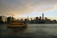 Boothorizon New York Manhattan Hudson River Light Stock Foto