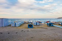 Booths and chiringuitos of Andalusian beaches. One summer morning Royalty Free Stock Images