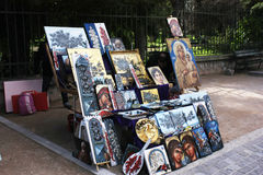 A booths in flea market. A booths which sells painting in flea market stock images
