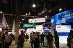 Booths of RSA, Pivotal and VMware companies at EMC World Stock Photos