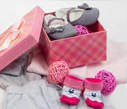 Booties and socks for a baby royalty free stock images