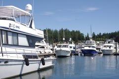 Bootjachthaven op het eiland van San Juan stock foto
