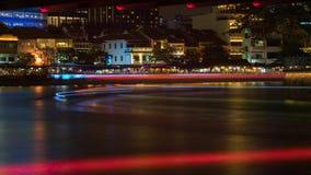 Bootkade bij Nacht Stock Foto