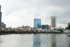 Bootkade en de Rivier van Singapore, Singapore, 2 Maart, 2018 royalty-vrije stock fotografie