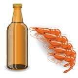 Bootle of beer and shrimp Stock Photography