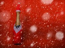 Bootle de Champagne na neve imagens de stock royalty free
