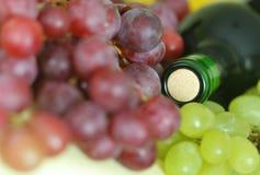 Bootle del vino e dell'uva fotografie stock libere da diritti