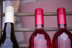 Bootles of wine on a rack Royalty Free Stock Image