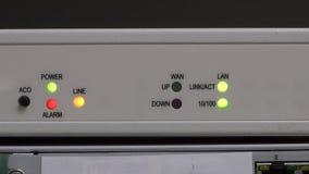 Bootloading modem in server room, blink led stock video