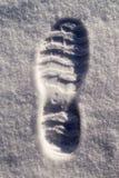 Bootprint i snö Royaltyfria Bilder