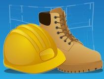 boots иконы hardhat конструкции Стоковая Фотография