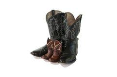 boots сынок ковбоя изолированный отцом Стоковое фото RF