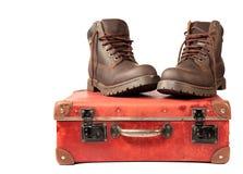boots чемодан Стоковое Изображение RF