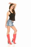 Boots. Atractive brunette, against white background royalty free stock images