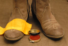 Boots. With the cream to clean royalty free stock images