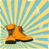 Boots. Hand drawn boots on a grungy background vector illustration