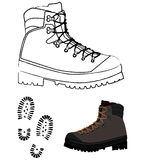 Boots. Illustration of hiking shoe and traces of boots, black and white and colour version + vector file stock illustration