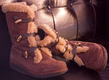 Boots. A shot of a pair of fuzzy boots Stock Images