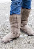 Boots. Brown warm fleece lined footwear stock photography