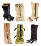 Boots. Six pair of women boots on the white background Royalty Free Stock Images
