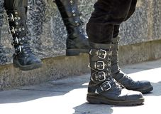 Boots. Two pairs of Alternative leather Boots Royalty Free Stock Image
