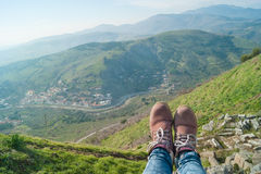 Boots in amphitheater of Pergamon Stock Images