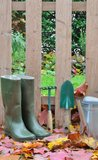 Boots And Gardening Tools Fall Stock Images