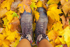 Boots on the autumn leaves Royalty Free Stock Image