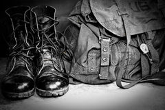 Boots and bag Stock Photography