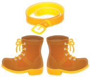 Boots and belt. Isolated clip-arts of high shoes and belt Stock Images